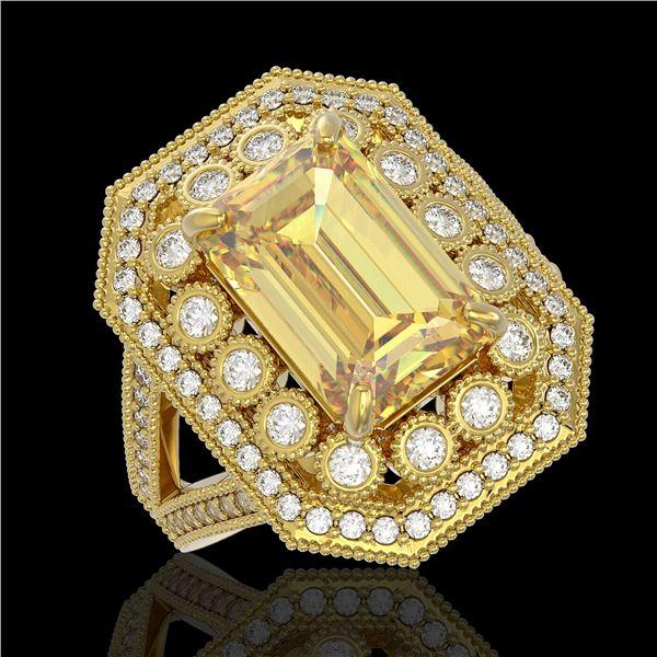 5.85 ctw Canary Citrine & Diamond Victorian Ring 14K Yellow Gold - REF-145N6F