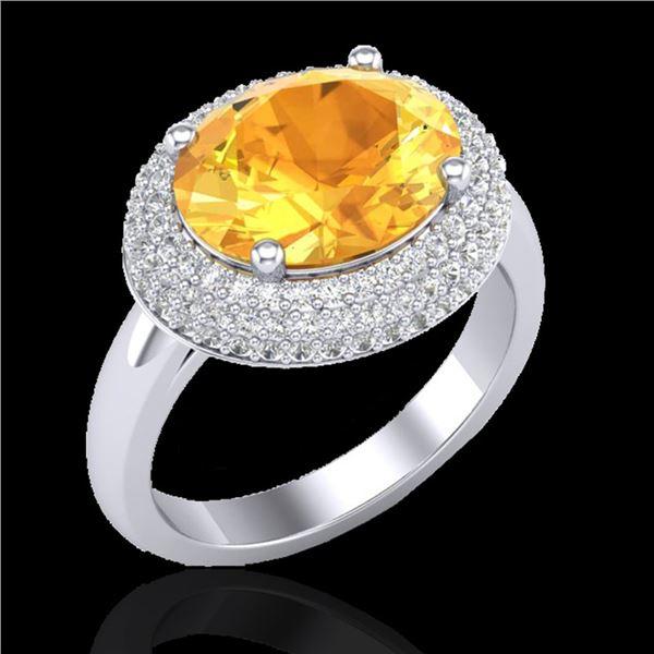 4 ctw Citrine & Micro Pave VS/SI Diamond Certified Ring 18k White Gold - REF-98R5K