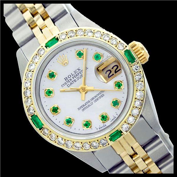 Rolex Ladies Two Tone 14K Gold/SS, Diam/Emerald Dial & Diam/Emerald Bezel, Sapphire Crystal