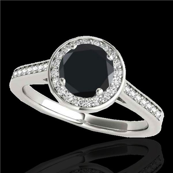 1.93 ctw Certified VS Black Diamond Solitaire Halo Ring 10k White Gold - REF-57A8N