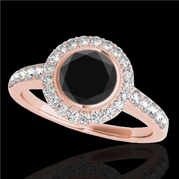 1.5 ctw Certified VS Black Diamond Solitaire Halo Ring 10k Rose Gold - REF-62K8Y