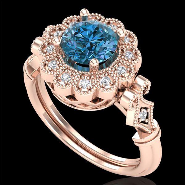 1.2 ctw Intense Blue Diamond Engagment Art Deco Ring 18k Rose Gold - REF-218H2R