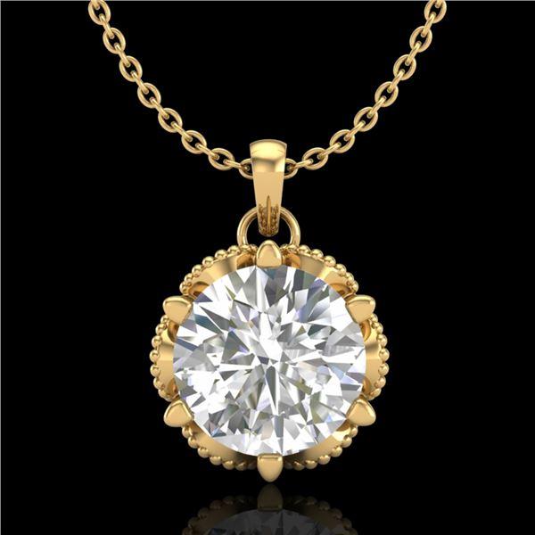 1.36 ctw VS/SI Diamond Solitaire Art Deco Necklace 18k Yellow Gold - REF-361K8Y