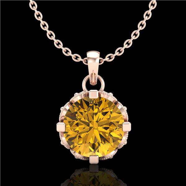 1.14 ctw Intense Fancy Yellow Diamond Art Deco Necklace 18k Rose Gold - REF-121A8N