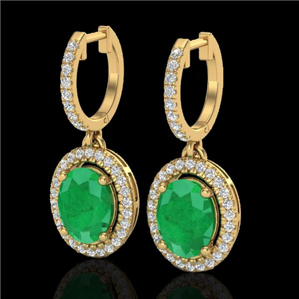 4.25 ctw Emerald & Micro Pave VS/SI Diamond Earrings 18k Yellow Gold - REF-112H8R