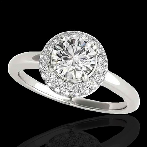 1.43 ctw Certified Diamond Solitaire Halo Ring 10k White Gold - REF-197Y8X