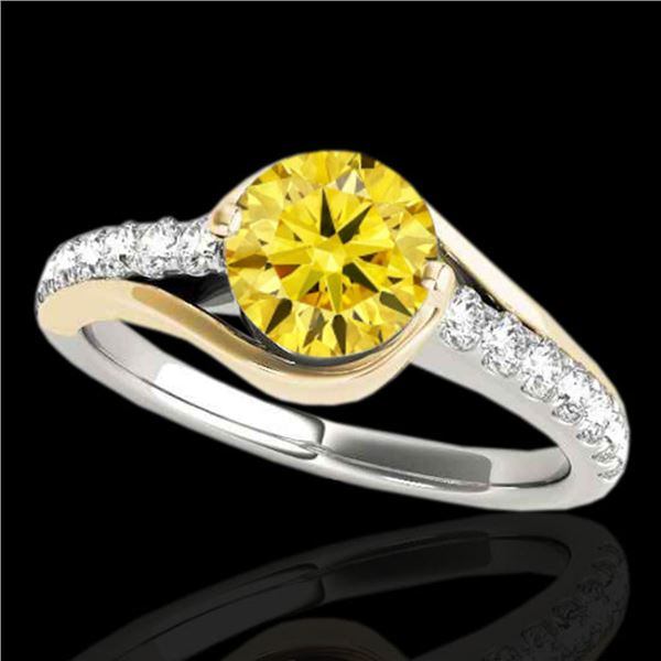 1.25 ctw Certified SI Intense Yellow Diamond Solitaire Ring 10k 2Tone Gold - REF-197N8F