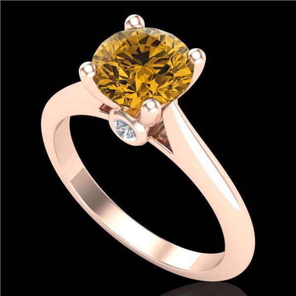 1.6 ctw Intense Fancy Yellow Diamond Art Deco Ring 18k Rose Gold - REF-216R8K