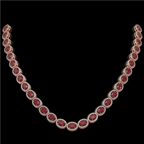 34.11 ctw Ruby & Diamond Micro Pave Halo Necklace 10k Rose Gold - REF-672Y8X