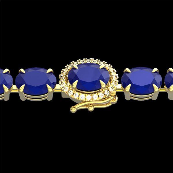 37 ctw Sapphire & VS/SI Diamond Micro Pave Bracelet 14k Yellow Gold - REF-272A8N