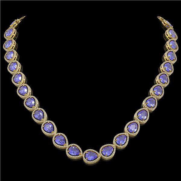 44.8 ctw Tanzanite & Diamond Micro Pave Halo Necklace 10k Yellow Gold - REF-1134M9G