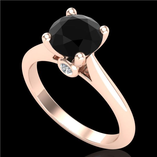 1.6 ctw Fancy Black Diamond Engagment Art Deco Ring 18k Rose Gold - REF-75Y2X