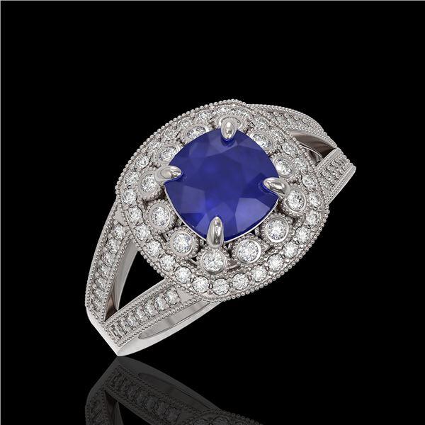 2.69 ctw Certified Sapphire & Diamond Victorian Ring 14K White Gold - REF-99K3Y