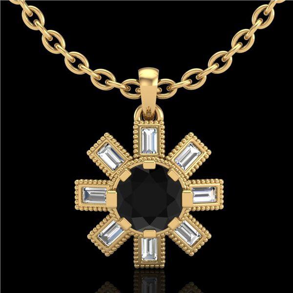 1.33 ctw Fancy Black Diamond Art Deco Stud Necklace 18k Yellow Gold - REF-136N4F