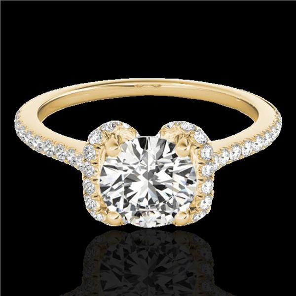 1.33 ctw Certified Diamond Solitaire Halo Ring 10k Yellow Gold - REF-190G9W