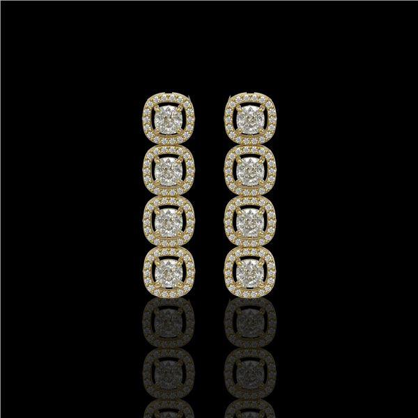 3.84 ctw Cushion Cut Diamond Micro Pave Earrings 18K Yellow Gold - REF-337Y5X