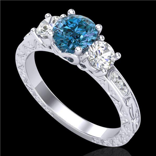 1.41 ctw Intense Blue Diamond Art Deco 3 Stone Ring 18k White Gold - REF-180X2A