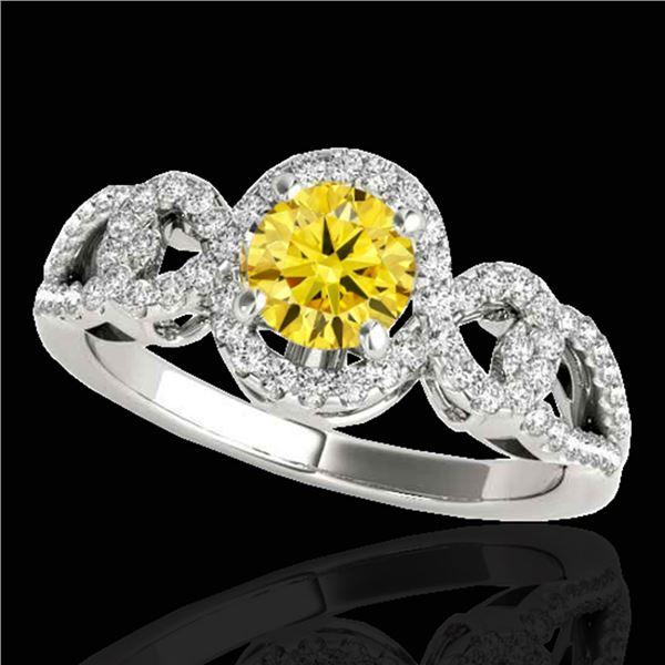 1.38 ctw Certified SI/I Fancy Intense Yellow Diamond Ring 10k White Gold - REF-188Y2X