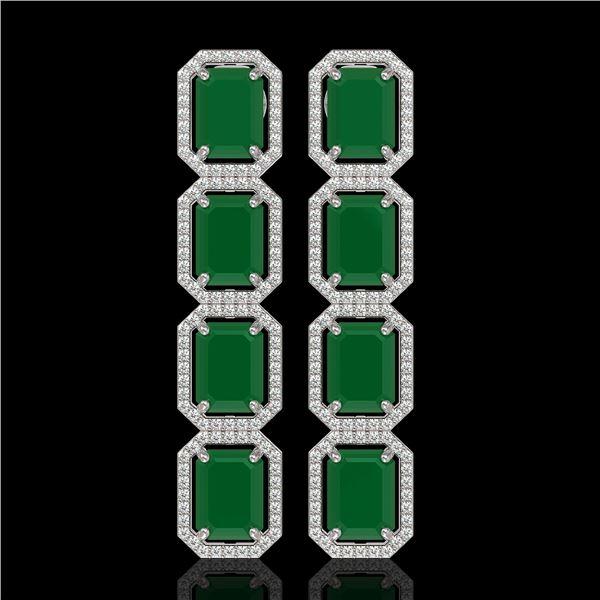 20.59 ctw Emerald & Diamond Micro Pave Halo Earrings 10k White Gold - REF-248G2W
