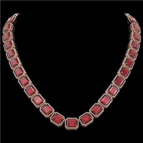 80.32 ctw Tourmaline & Diamond Micro Pave Halo Necklace 10k Rose Gold - REF-1178G4W