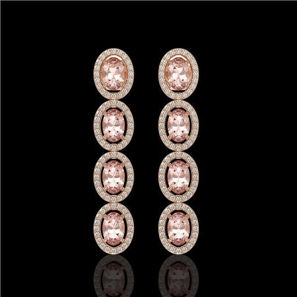 6.09 ctw Morganite & Diamond Micro Pave Halo Earrings 10k Rose Gold - REF-143W6H