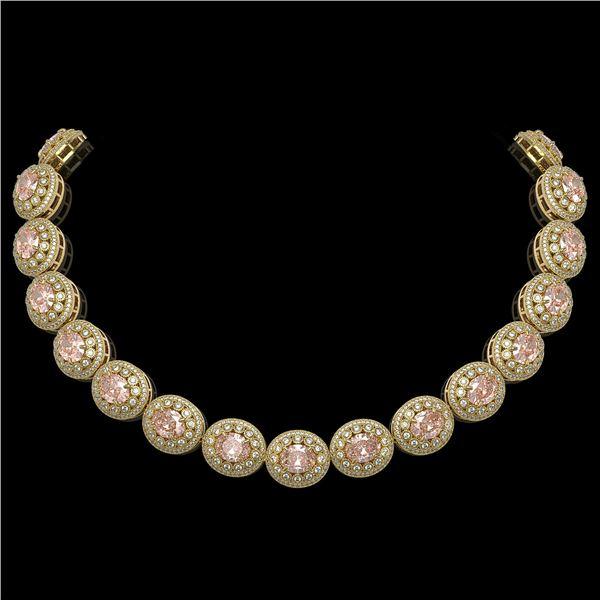 93.04 ctw Morganite & Diamond Victorian Necklace 14K Yellow Gold - REF-3788K9Y