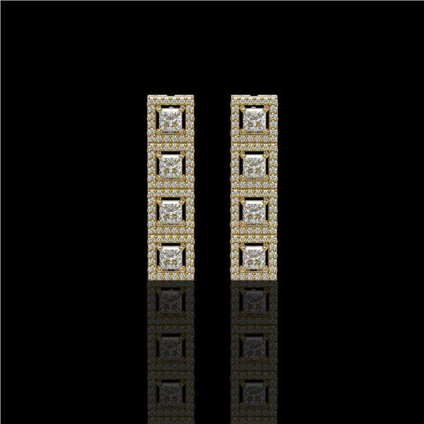 4.01 ctw Princess Cut Diamond Micro Pave Earrings 18K Yellow Gold - REF-346R3K