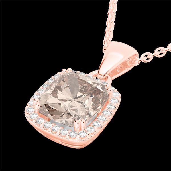 3 ctw Morganite & Micro VS/SI Diamond Pave Necklace 14k Rose Gold - REF-81W8H