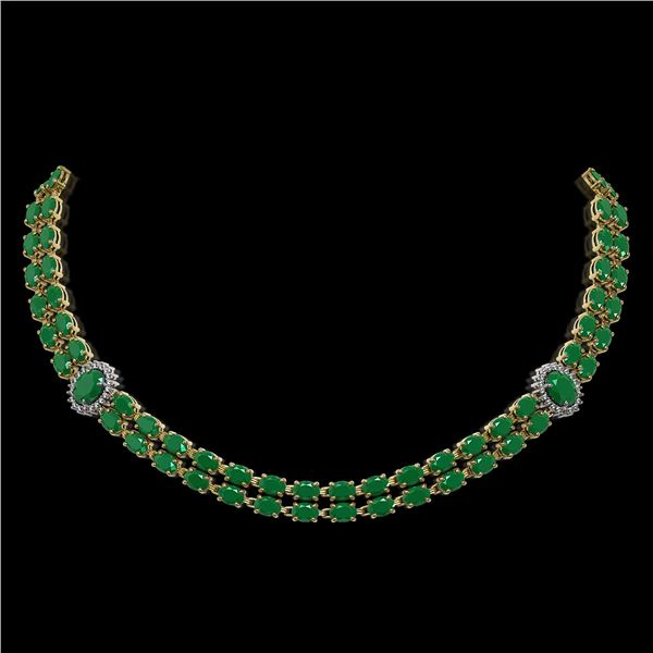 43.13 ctw Emerald & Diamond Necklace 14K Yellow Gold - REF-527Y3X