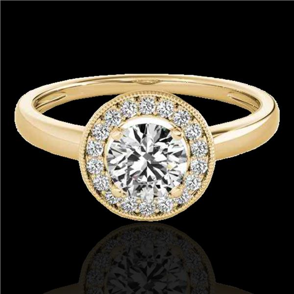 1.15 ctw Certified Diamond Solitaire Halo Ring 10k Yellow Gold - REF-184G3W