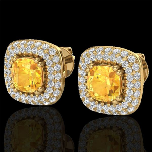 2.16 ctw Citrine & Micro VS/SI Diamond Earrings Halo 18k Yellow Gold - REF-103H6R