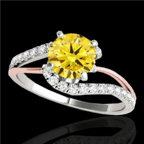 1.35 ctw Certified SI Fancy Diamond Bypass Solitaire Ring 10k 2Tone Gold - REF-190G9W