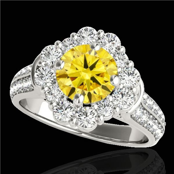 2.81 ctw Certified SI/I Fancy Intense Yellow Diamond Ring 10k White Gold - REF-271Y4X
