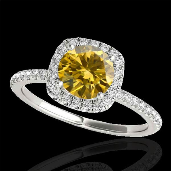 1.5 ctw Certified SI/I Fancy Intense Yellow Diamond Ring 10k White Gold - REF-218K2Y