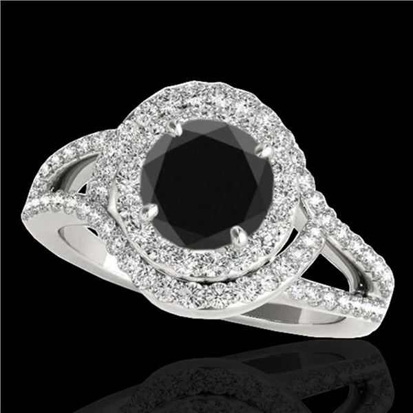 1.9 ctw Certified VS Black Diamond Solitaire Halo Ring 10k White Gold - REF-74N2F