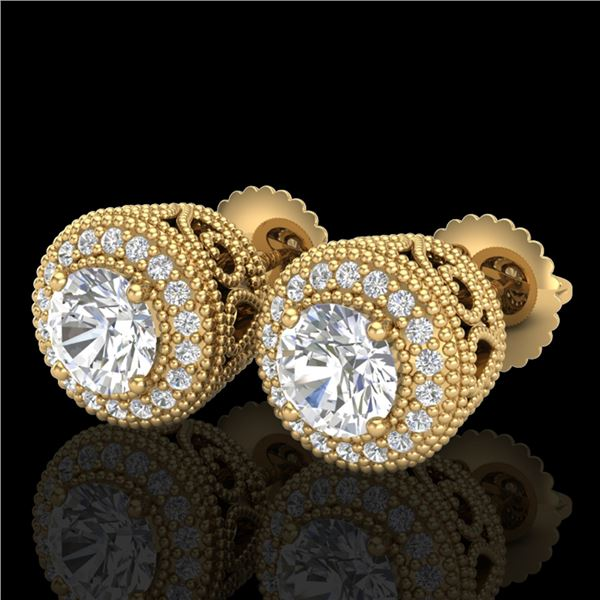 1.55 ctw VS/SI Diamond Solitaire Art Deco Stud Earrings 18k Yellow Gold - REF-259M3G
