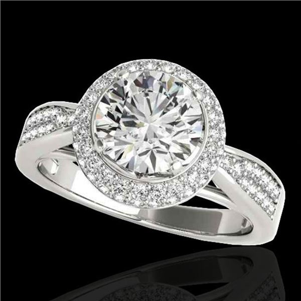 2.15 ctw Certified Diamond Solitaire Halo Ring 10k White Gold - REF-381H8R