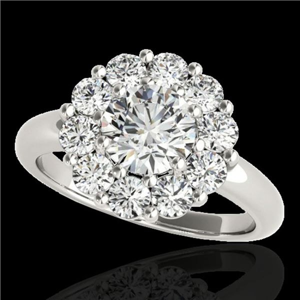 2.09 ctw Certified Diamond Solitaire Halo Ring 10k White Gold - REF-225R2K