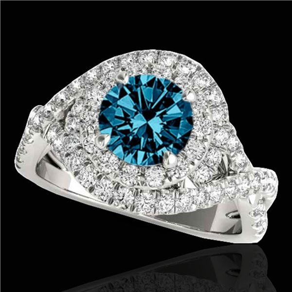 2 ctw SI Certified Blue Diamond Solitaire Halo Ring 10k White Gold - REF-211G4W