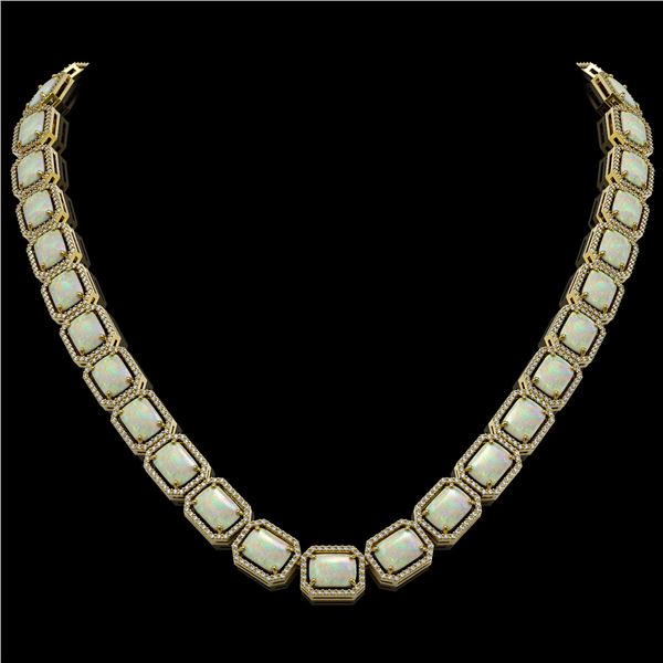 53.59 ctw Opal & Diamond Micro Pave Halo Necklace 10k Yellow Gold - REF-890N9F