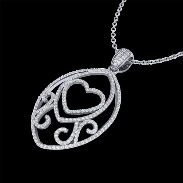 1.75 ctw Micro Pave VS/SI Diamond Heart Necklace 18k White Gold - REF-180N2F