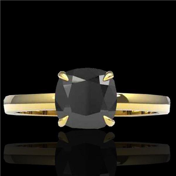3 ctw Cushion Cut Black Diamond Designer Ring 18k Yellow Gold - REF-107Y3X