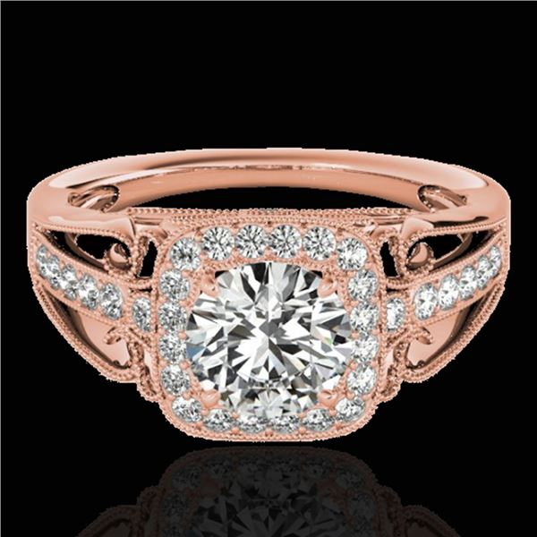 1.3 ctw Certified Diamond Solitaire Halo Ring 10k Rose Gold - REF-197A8N