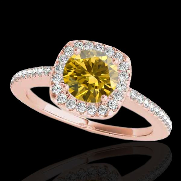 1.25 ctw Certified SI/I Fancy Intense Yellow Diamond Ring 10k Rose Gold - REF-190K9Y