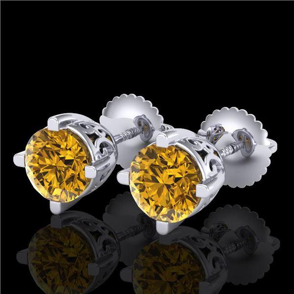 1.5 ctw Intense Fancy Yellow Diamond Art Deco Earrings 18k White Gold - REF-309A3N