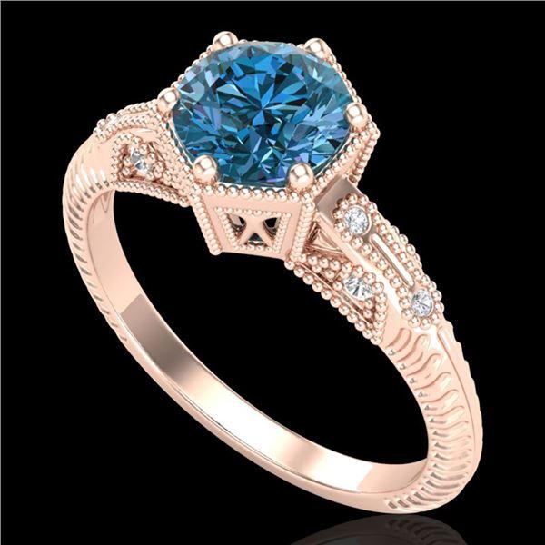 1.17 ctw Fancy Intense Blue Diamond Art Deco Ring 18k Rose Gold - REF-180G2W