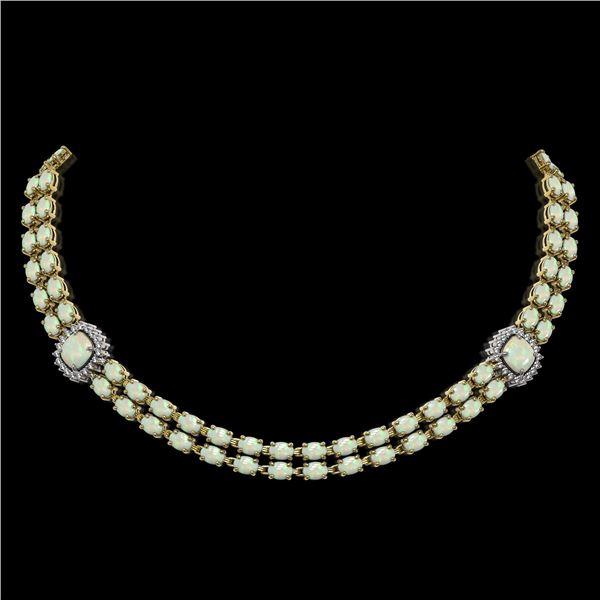 32.21 ctw Opal & Diamond Necklace 14K Yellow Gold - REF-527K3Y