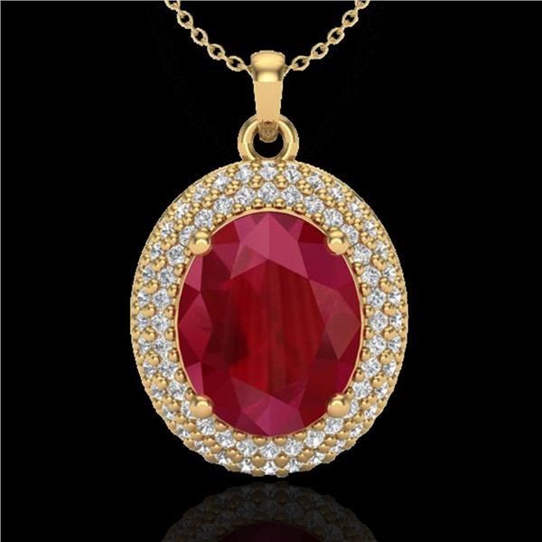 4.50 ctw Ruby & Micro Pave VS/SI Diamond Necklace 18k Yellow Gold - REF-120X9A