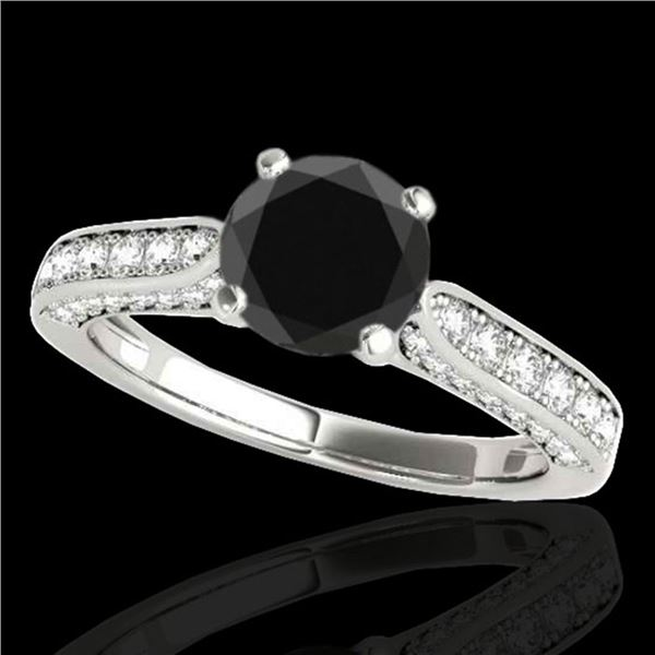 1.6 ctw Certified VS Black Diamond Solitaire Ring 10k White Gold - REF-66F8M