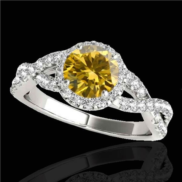 1.54 ctw Certified SI/I Fancy Intense Yellow Diamond Ring 10k White Gold - REF-204K5Y